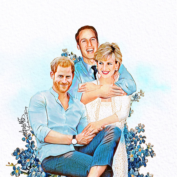 Incredible artist reimagines Princess Diana with her daughters in law Kate Middleton and Meghan Markle Photo C INSTAGRAM