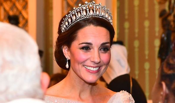 Kate pictured in the Cambridge Lovers Knot Tiara Image C GETTY