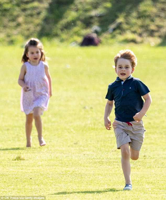 Last June George and Charlotte were seen running around the grounds at the Beaufort Polo Club wearing Trotters Hampton plum canvas shoes which cost £ a pair