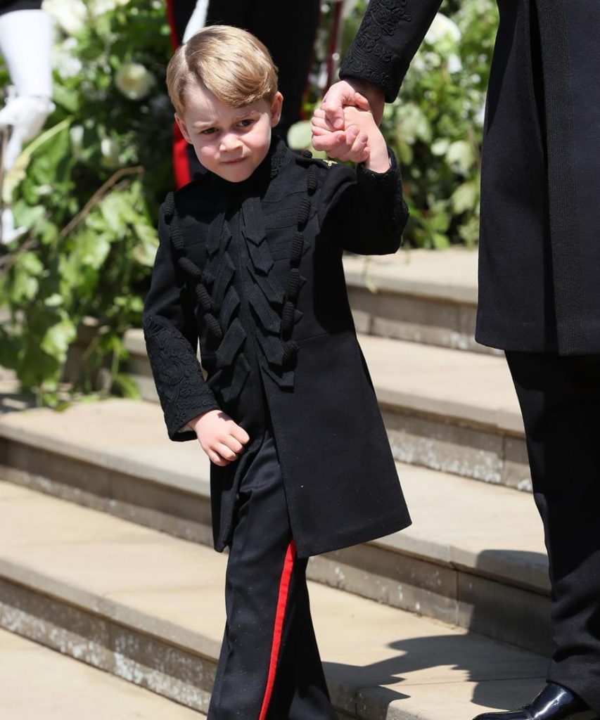 Lo and behold Prince George sparingly wears long legged pants Another rare occasion was at Prince Harry and Duchess Meghans royal wedding in May pictured Image Getty