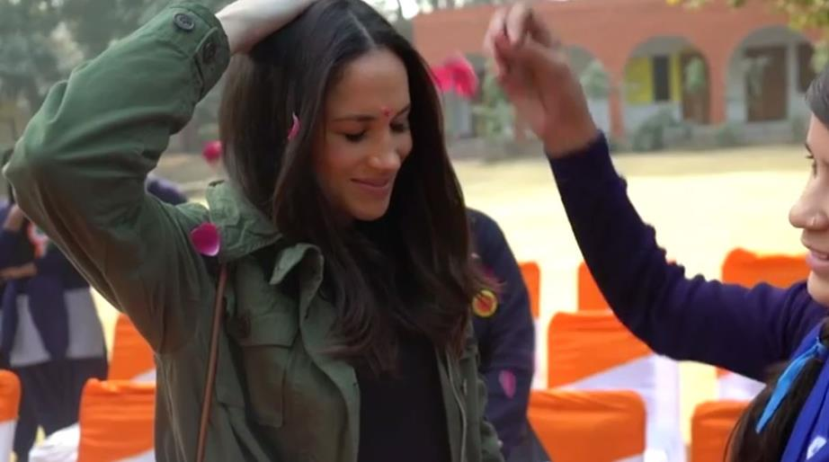 Meghan is seen experiencing beautiful elements of Indian culture in the footage Image C ITV