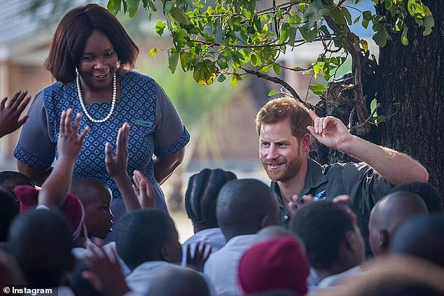 One image shows the Duke of Sussex addressing local school children as part of his work for the African Parks Network