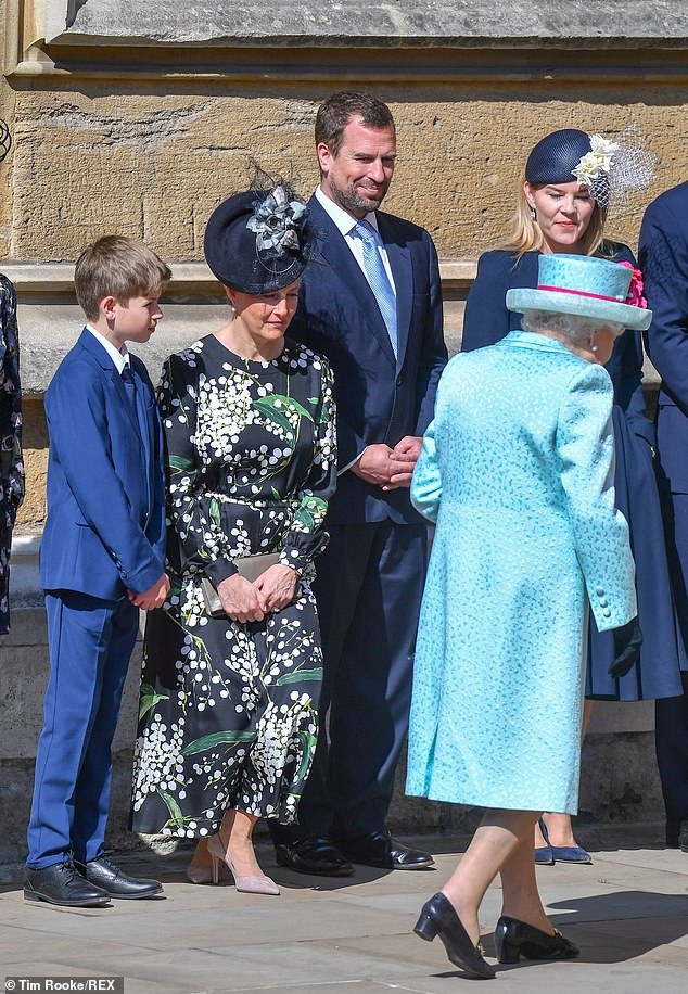 Paying their respects Sophie Countess of Wessex Peter and Autumn Phillips and James Viscount Severn greet Her Majesty as she arrives for the morning service