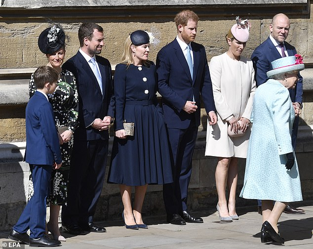 Pictured left to right James Viscount Severn Sophie Countess of Wessex Peter Phillips Autumn Phillips Prince Harry Duke of Sussex