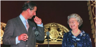 Prince Charles and Queen Elizabeth II at the birthday party in Imag Getty