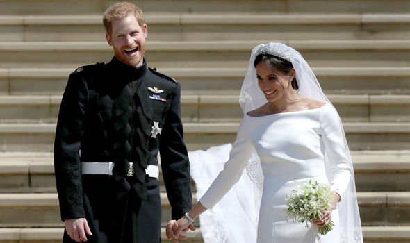 Prince Harry and Meghan Markle on their wedding day in Image C Getty