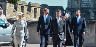 Prince Harry chats with Autumn and Peter Phillips after leaving the Easter Sunday service The Duchess of Sussex with not attend