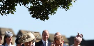 Prince Harry walked towards the chapel beside Princess Anne while his brother William was a few paces behind with the Tindalls