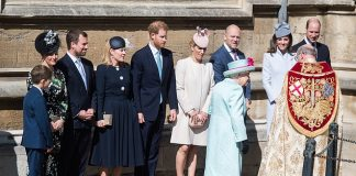 Prince Harry with the Queen alongside William and Catherine outside St Georges Chapel before the service