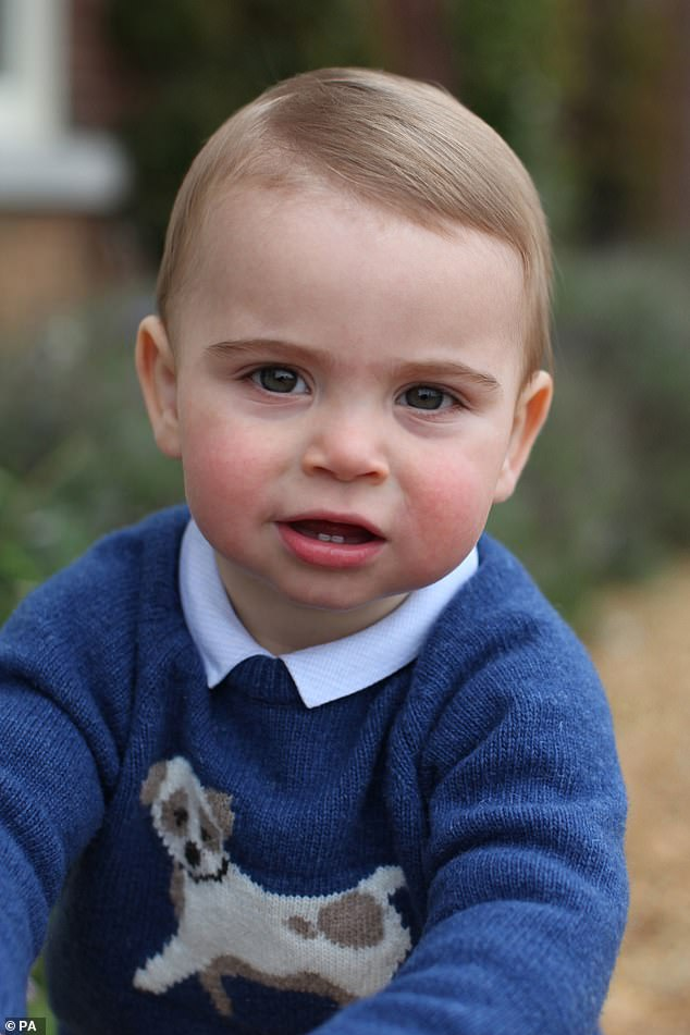 Prince Louis pictured earlier this month in Norfolk wore an adorable blue cashmere jumper with a dog on the front from high street childrens shop Trotters for one of his birthday pictures