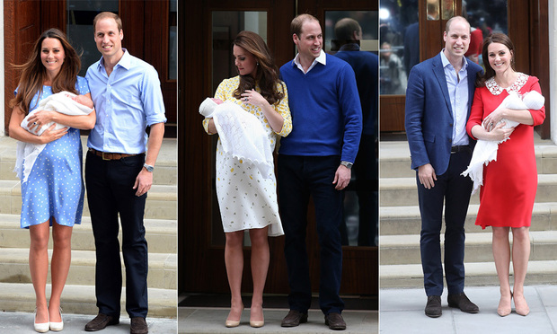 Prince William and Kate debuted all three of their children on the Lindo Wing steps Photo C GETTY IMAGES