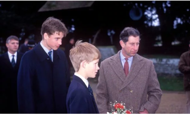 Prince William pictured with Prince Harry and Prince Charles at Sandringham in Image C Getty