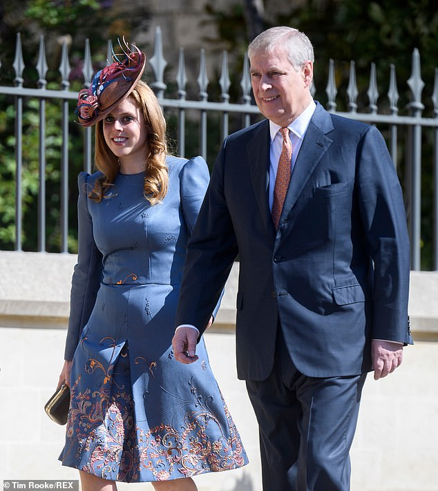 Princess Beatrice and Prince Andrew were also in attendance with Beatrice sporting one of her signature elaborate hats