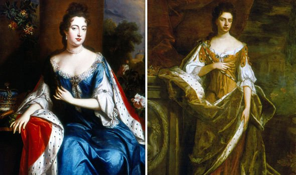 Queen Mary II left and Queen Anne were James II daughters neither produced any living heirs photo C getty images