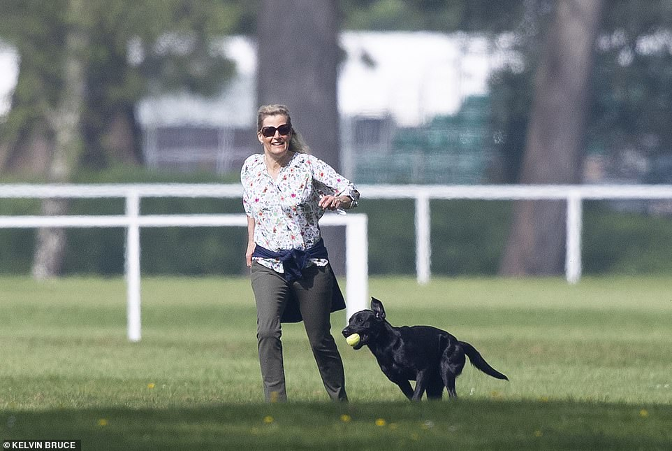Sporty Sophie pinned her blonde hair back and sheltered her eyes from the sun in a pair of dark shades as she chased around the familys pets including a glossy black labrador