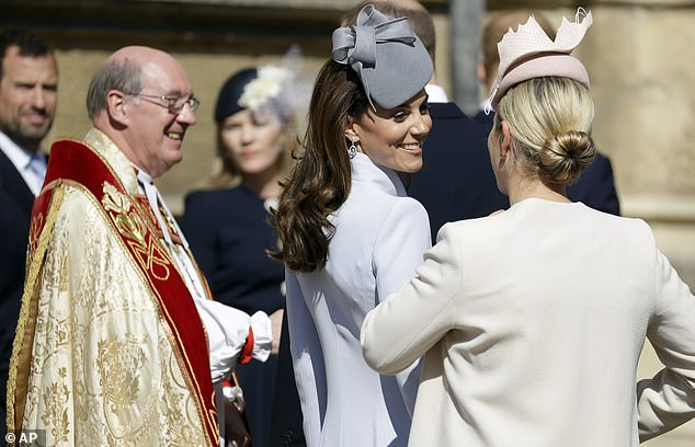 The Duchess of Cambridge chatted happily to Zara Tindall as the family gathered prior to the service