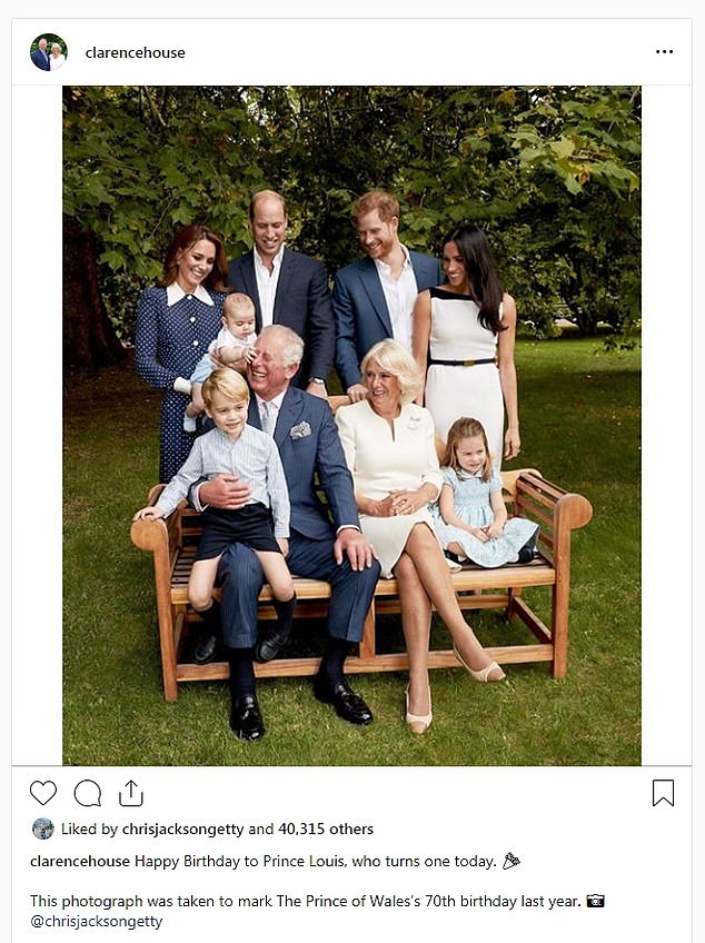 The Duke and Duchess of Cornwall also wished the young prince a happy birthday with a sweet Instagram post The couple selected a photo of Louis