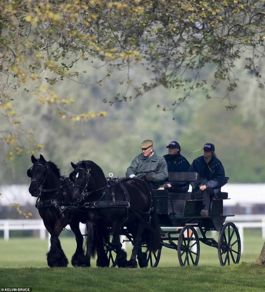 The Duke of Edinburgh rode in a carriage and was accompanied by two female members of staff as two black horses led the way