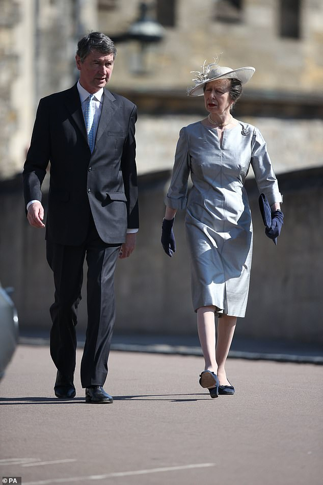 The Princess Royal and Vice Admiral Sir Timothy Lawrence arrive for the Easter Mattins Service at St Georges Chapel