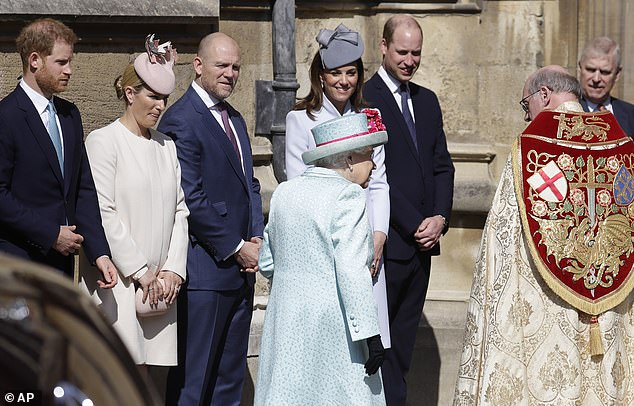 The Queen pictured being welcomed at the Windsor Castle chapel by Prince Harry Zara and Mike Tindall and the Duke and Duchess of Cambridge