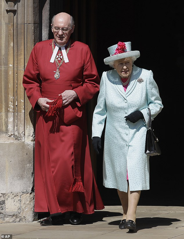 The Queen pictured leaving the service donned a set of pearl earrings and a necklace for the Easter service as well as a black handbag shoes and gloves