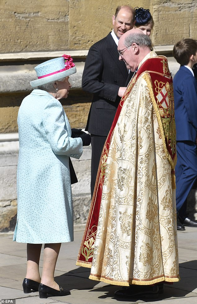The Queen was welcomed to the annual ceremony by The Dean of Windsor David Conner