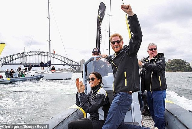 The couple also shared this photo taken on a boat in Sydney Harbour during the Invictus Games in Australia in October last year