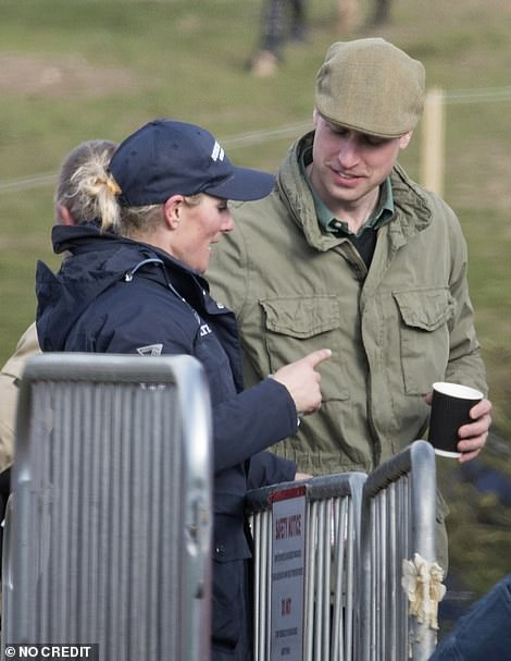 The group coordinated in navy and khaki coloured ensembles mainly from the high street as they enjoyed a day out with William and Zara opting for khaki and navy jacket