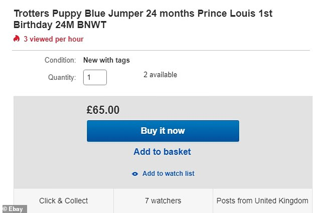 The knit has even hit eBay at £ described as Prince Louis first birthday jumper with seven watchers and the item being viewed three times an hour already