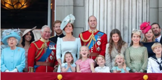 The original photo also included Prince Charles stood next to Kate but he was cropped out Image GETTY