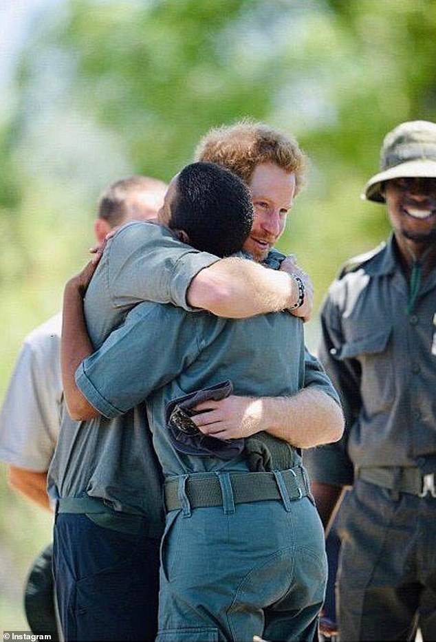 The series of shots also includes a moving image of Harry hugging a park ranger in Botswana