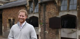 A delighted Prince Harry made the big announcement on live TV that the baby is born Pic GETTY
