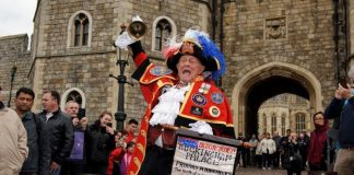 A town crier made the announcement of the birth to crowds outside Windsor Castle Pic GETTY