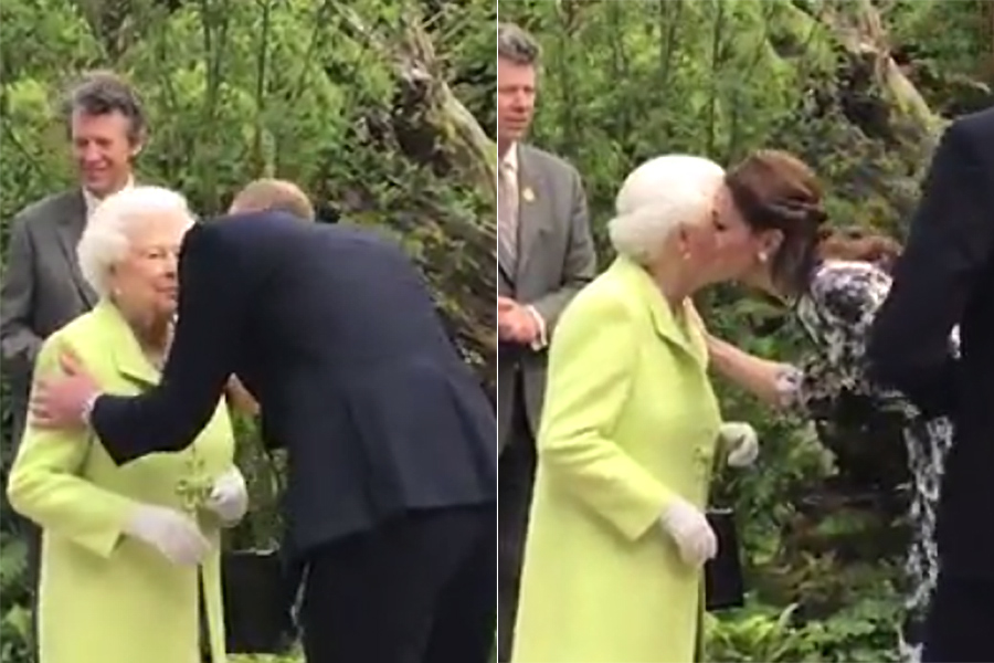 All the times the Queen has been greeted with a kiss from her royal family photo C Getty Images