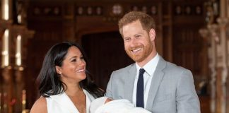 He and Meghan smiled for pictures yesterday with the newborn Image GETTY