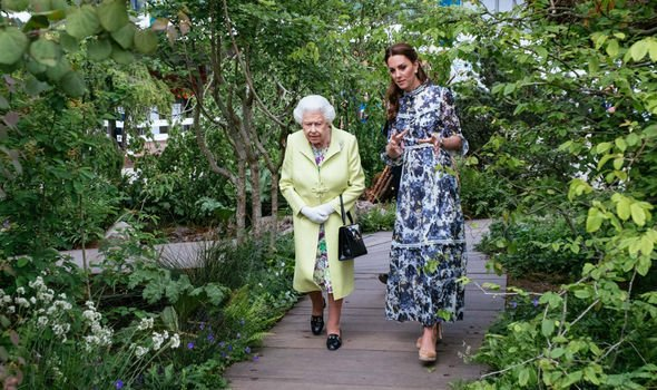 Kate took the Queen on a tour of her back to nature garden Image GETTY