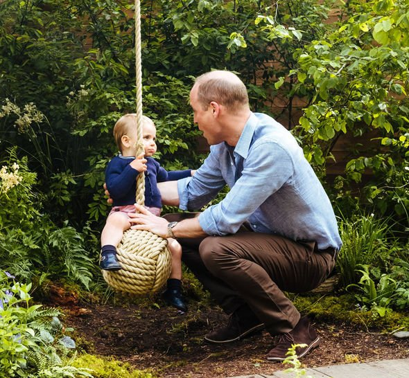 Kate Middleton Chelsea Flower Show Prince Louis and Prince William were spotted spending time by the rope swing Image KENSINGTON PALACE