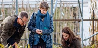 Kensington Palace revealed that Kate pictured with the designers from landscaping company Davies White visited plant nurseries and suppliers in the lead up to the prestigious show