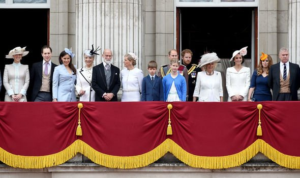 Lady Gabriella WIndosr far left alongside the Royal Family including Kate Middleton Image Getty