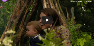 Listen to Prince George chat away in Kate Middletons garden while Princess Charlotte pushes Prince William on swing – new video