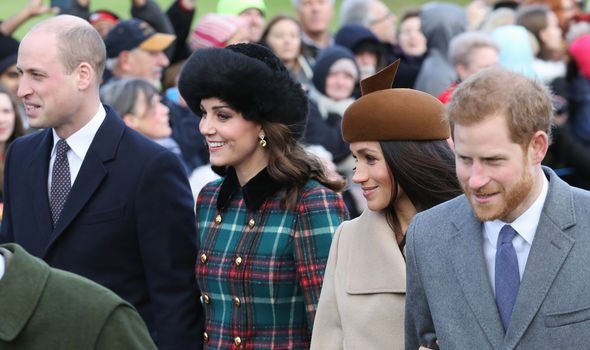 Meghan with Harry Kate and William at Sandringham in Image GETTY