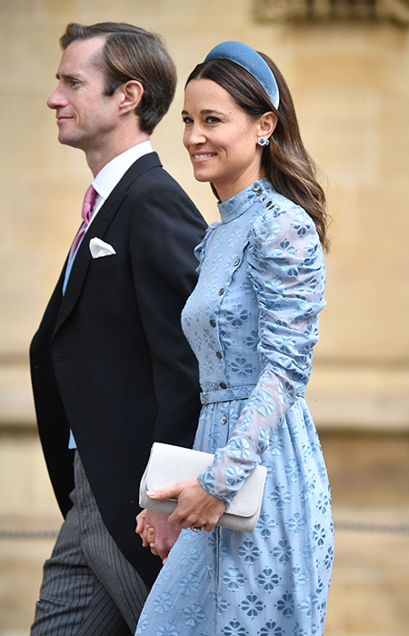 Pippa Middleton sister of the Duchess of Cambridge arrived with her husband James Matthews Pippa looked fabulous in a pale blue dress and matching headband Photo C iimage
