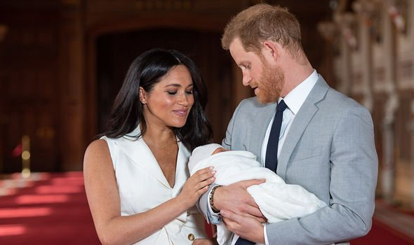 Prince Harry and Meghan Markle introducing their son Archie to the world last week Image GETTY
