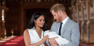 Prince Harry and Meghan Markle pictured with their baby two days after his birth Image GETTY