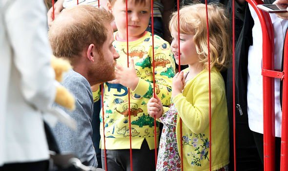 Prince Harry made a real point to speak to many young children outside the hospital