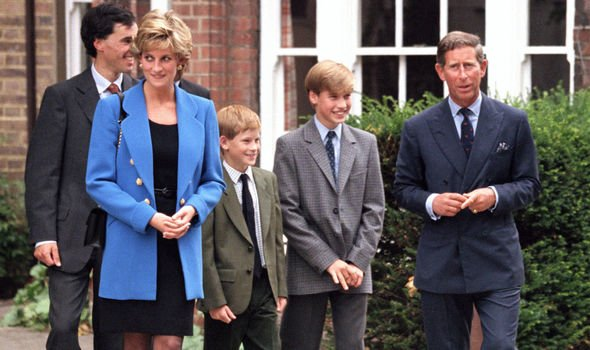 Prince Harry with Charles alongside Diana and William in Image Getty