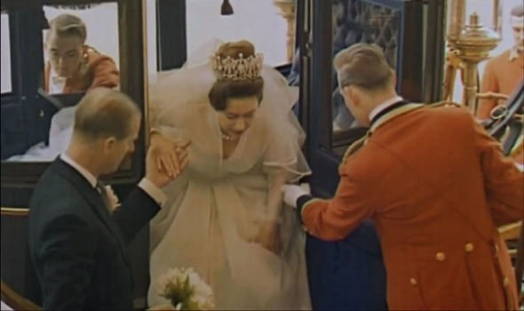 Prince Philip helps Princess Margaret out of her bridal carriage Image Amazon Prime The Queens Diamond Decades