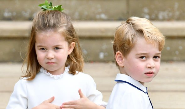 Princess Charlotte and Prince George at Princess Eugenies wedding Image GETTY