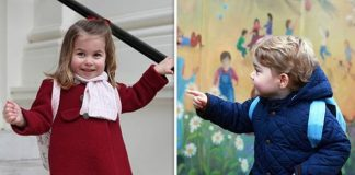 Princess Charlotte and Prince George on their first days at nursery Image GETTY