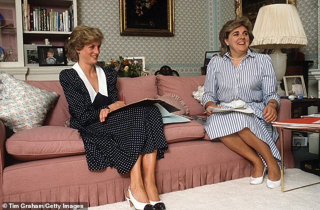 Princess Diana wore her take on the feminine look for photos taken in her living room at Kensington Palace in October Pictured with lady in waiting Anne Beckwith Smith